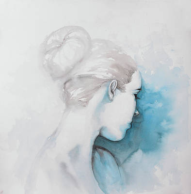Abstract Portrait Painting - Watercolor Abstract Girl With Hair Bun by Atelier B Art Studio