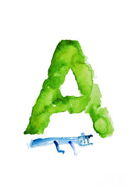 Painting - Watercolor Alphabet A Alligator Art Print Painting by Joanna Szmerdt