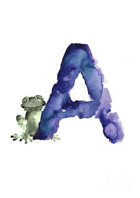 Frogs Mixed Media - Watercolor Alphabet A Frog Painting by Joanna Szmerdt
