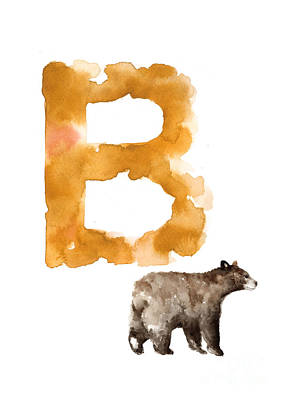 Giclee Mixed Media - Watercolor Alphabet Bear Poster by Joanna Szmerdt