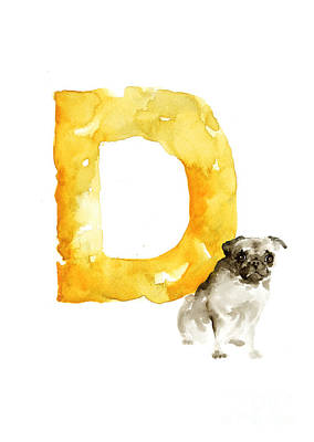 Painting - Watercolor Alphabet D Dog Art by Joanna Szmerdt