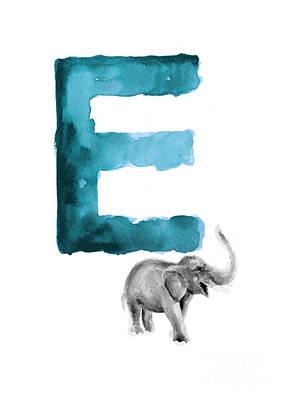 Painting - Watercolor Alphabet E Elephant Art by Joanna Szmerdt