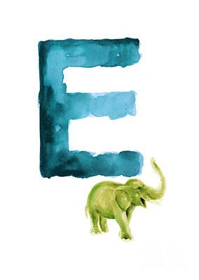 Painting - Watercolor Alphabet E Green Elephant Art. by Joanna Szmerdt