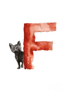 Painting - Watercolor Alphabet F Cat Art Print by Joanna Szmerdt