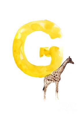 Painting - Watercolor Alphabet G Giraffe Art by Joanna Szmerdt