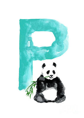 P Painting - Watercolor Alphabet Giant Panda Poster by Joanna Szmerdt