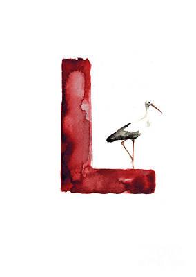 Painting - Watercolor Alphabet L Stork Art Print Painting by Joanna Szmerdt