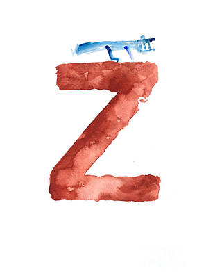 Painting - Watercolor Alphabet Z Letter Abstract Crocodile Large Poster by Joanna Szmerdt