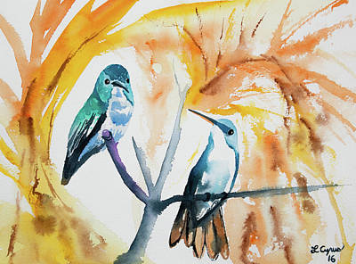 Painting - Watercolor - Andean Emerald Hummingbirds by Cascade Colors
