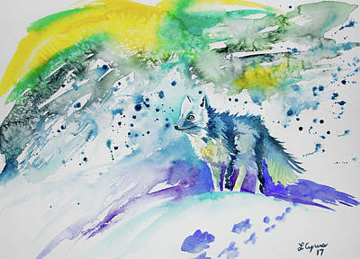 Painting - Watercolor - Arctic Fox by Cascade Colors