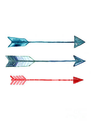 Arrow Painting - Watercolor Arrow Minimalist Painting by Joanna Szmerdt