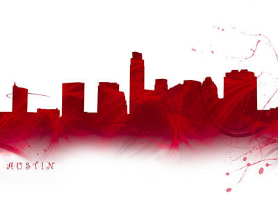 Abstract Digital Art - Watercolor Austin Skyline In Firey Red by Tod and Cynthia Grubbs