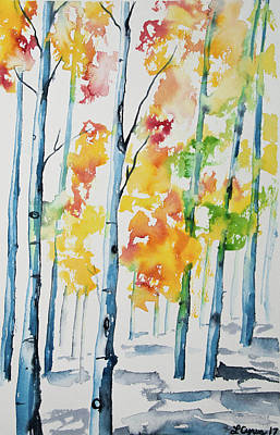 Painting - Watercolor - Autumn Aspen Trees by Cascade Colors