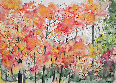 Art Print featuring the painting Watercolor - Autumn Forest by Cascade Colors
