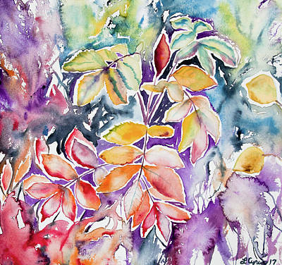 Painting - Watercolor - Autumn Leaves Impression by Cascade Colors