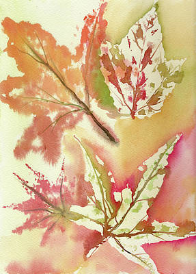 Painting - Watercolor - Autumn Leaves by Neringa Barmute
