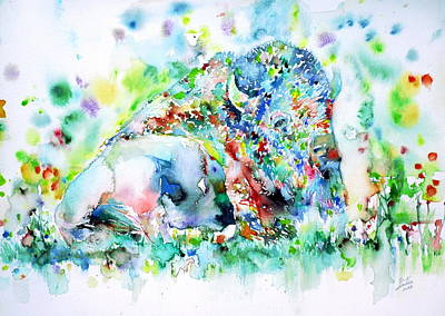 Watercolor Bisons.1 Original by Fabrizio Cassetta