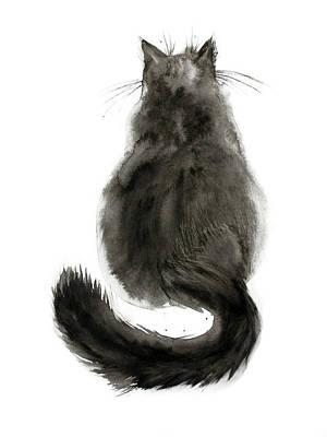 Watercolor Black Cat Art Print