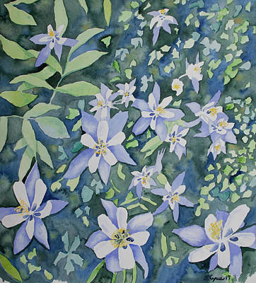 Art Print featuring the painting Watercolor - Blue Columbine Wildflowers by Cascade Colors