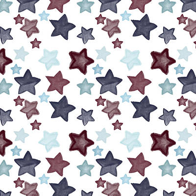 Digital Art - Watercolor Blue Red Stars by P S