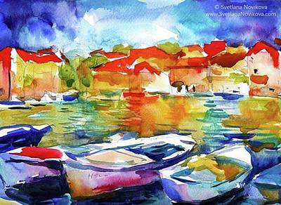 Watercolor Boats By Svetlana Novikova ( Art Print