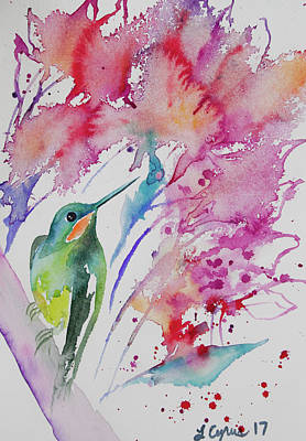Painting - Watercolor - Brilliant Hummingbird With Colorful Background by Cascade Colors