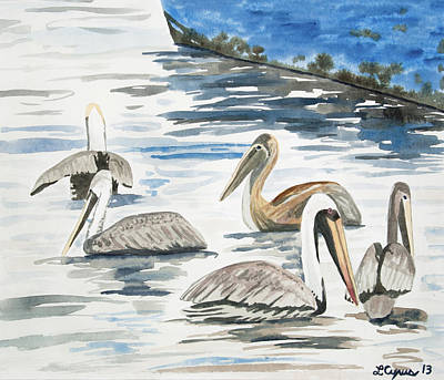 Painting - Watercolor - Brown Pelicans Swimming by Cascade Colors