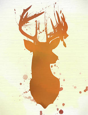 Painting - Watercolor Buck Deer Head On Wood by Dan Sproul