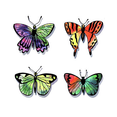 Painting - Watercolor Butterflies Collection II by Irina Sztukowski