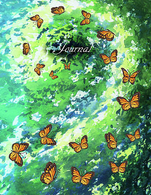 Royalty-Free and Rights-Managed Images - Watercolor Butterflies Spiral Notebook Journal Diary by Irina Sztukowski by Irina Sztukowski