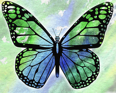 Painting - Watercolor Butterfly In Blue And Green by Irina Sztukowski