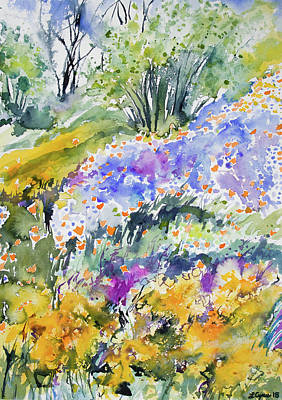 Painting - Watercolor - California Wildflowers by Cascade Colors