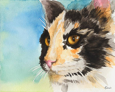 Watercolor Pet Portraits Wall Art - Painting - Watercolor Cat 01 Smart Cat  by Kathleen Wong