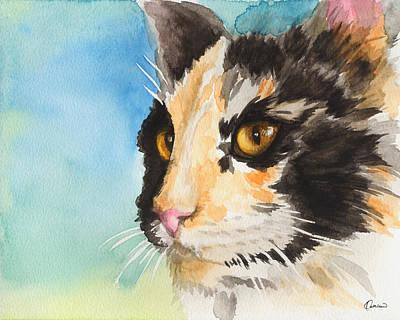 Watercolor Pet Portraits Painting - Watercolor Cat 01 Smart Cat  by Kathleen Wong
