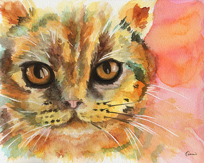 Watercolor Pet Portraits Wall Art - Painting - Watercolor Cat 02 Army Cat  by Kathleen Wong