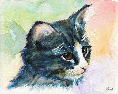 Watercolor Pet Portraits Wall Art - Painting - Watercolor Cat 03 A Pitiable Kitten by Kathleen Wong