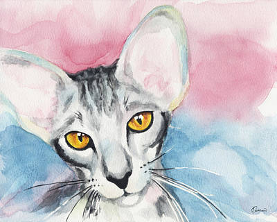 Watercolor Pet Portraits Wall Art - Painting - Watercolor Cat 04 Big Ears Cat by Kathleen Wong