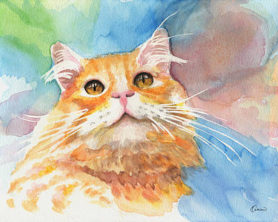 Watercolor Pet Portraits Painting - Watercolor Cat 05 Smile Cat by Kathleen Wong