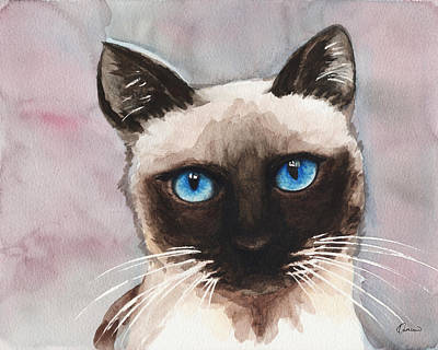 Watercolor Pet Portraits Painting - Watercolor Cat 06 Blue Eyes Cat by Kathleen Wong