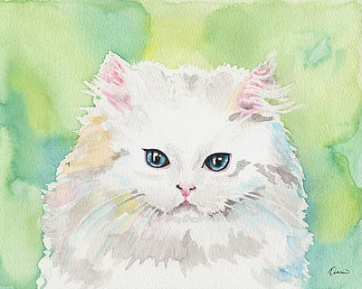 Watercolor Pet Portraits Painting - Watercolor Cat 07 Princess Kitten by Kathleen Wong