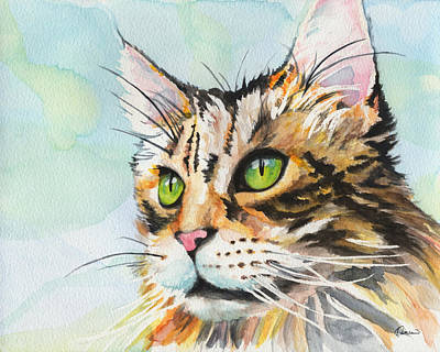 Watercolor Pet Portraits Wall Art - Painting - Watercolor Cat 08 Green Eyes Cat by Kathleen Wong