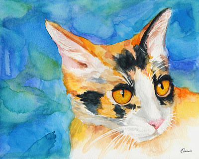 Watercolor Pet Portraits Wall Art - Painting - Watercolor Cat 09 Calico Cat by Kathleen Wong