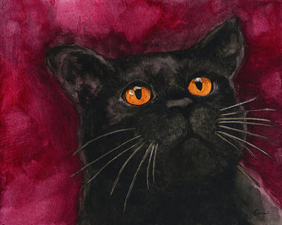 Watercolor Pet Portraits Painting - Watercolor Cat 10 Black Cat by Kathleen Wong