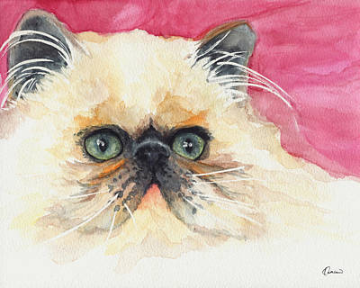 Watercolor Pet Portraits Painting - Watercolor Cat 11 Lazy Cat by Kathleen Wong
