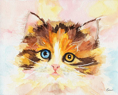 Watercolor Pet Portraits Painting - Watercolor Cat 12 Cute Kitten by Kathleen Wong