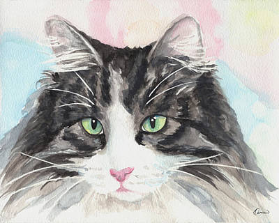 Watercolor Pet Portraits Painting - Watercolor Cat 13 My Master by Kathleen Wong