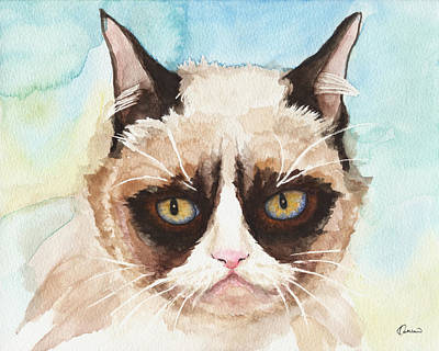 Watercolor Pet Portraits Wall Art - Painting - Watercolor Cat 14 Sorrowful Cat by Kathleen Wong