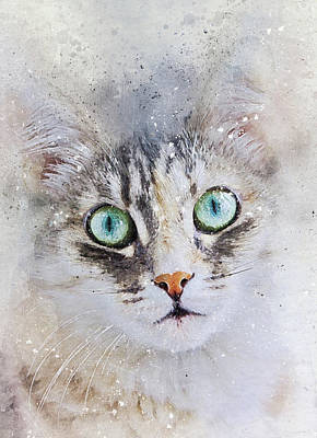 Watercolor Pet Portraits Digital Art - Watercolor Cat Face by Oksana Ariskina