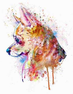 Watercolor Pet Portraits Wall Art - Painting - Watercolor Chihuahua  by Marian Voicu