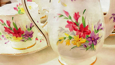 Teapot Painting - Watercolor China by Bonnie Bruno